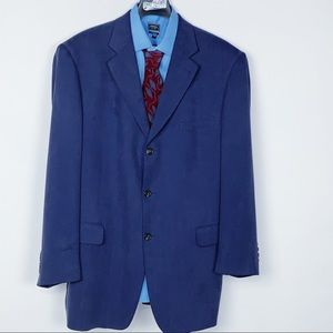 Bill Blass Silk Three Button Herringbone Blazer 40